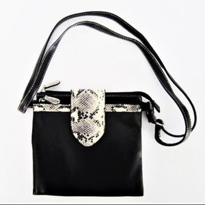 Crossbody Bag Black Faux Leather Reptile Accents